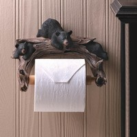 Black Bear Toilet Paper Holder Bathroom Accessory