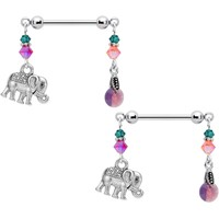 Handcrafted Elephant Nipple Ring Set Created with Swarovski Crystals
