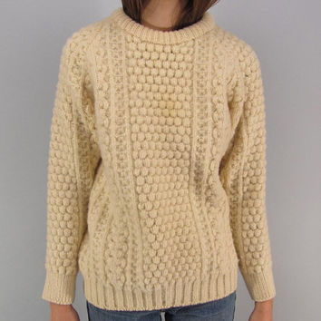 Vintage 70s Irish Fisherman Sweater, Pure Irish Wool Sweater, Cable Knit Sweater, Chunky Sweater Δ fits sizes: sm / md / lg