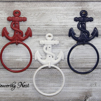 Nautical Towel Ring // Towel holder // cast iron towel // towel ring // bathroom decor // anchor towel ring // bathroom towel holder