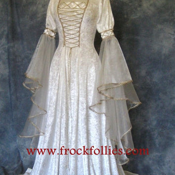 "Renaissance Dress, Medieval Dress, Elvish Wedding Dress, Pre-Raphaelite Gown, Handfasting Dress, Medieval Wedding Dress, ""Amelia"""