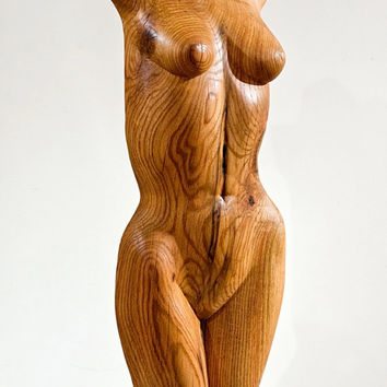 """Wood Nymph Sculpture - """"Dryad 2"""" - Hand Carved Oak - 14"""" X 34"""""""