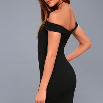 Charm and Delight Black Off-the-Shoulder Bodycon Dress
