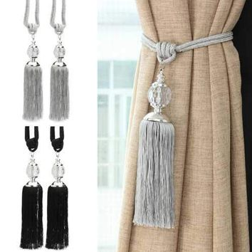 2Pcs New Curtain Tiebacks Luxury Tassel Beaded Tieback