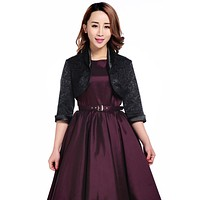 Elegant Jacquard Black Satin Trimmed Cropped 3/4 Sleeve Party Bolero Jacket