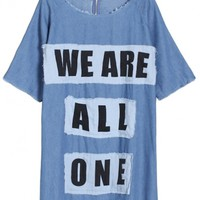 WE ARE ALL ONE Print Applique Denim Tee