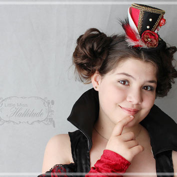 Red Queen of Hearts Mini Top Hat , Tea Party Hat , Mad Hatter Hat , Mini Top Hat Fascinator