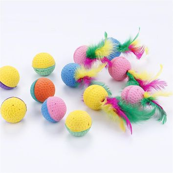 Pet Dog Kitten Toy Scratching Colorful Elasticity Ball Funny Cat Safe Rubber Play Dolls Pet Cats Toys Interactive Feather Toys