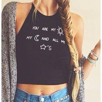 Crop Tops Casual Camis You are my sun my moon and all my stars  Letter Printed Halter Neck Vest Tank Tops Bottoming