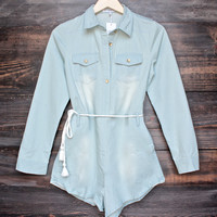 toby heart ginger romper in light chambray