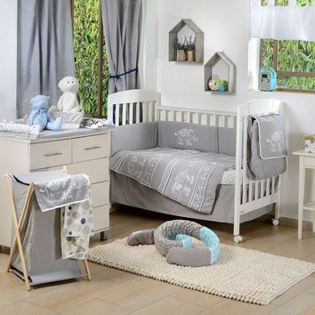 Grey Elephant Patchwork Crib Bedding Collection Crib Bedding Set Rating: 0%