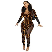 Women Fashion Long Sleeve Sexy Leopard Sheer Patchwork Jumpsuit