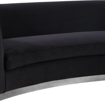 Julian Curved Black Velvet Sofa