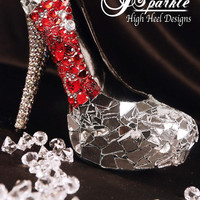 Be Wed Mirror Glass Custom High Heel Pumps with Swarovski Crystals and RED fire gems