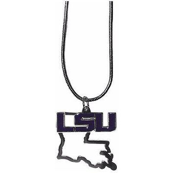 "Louisiana LSU Tigers Home State Charm Necklace Silver Tone 18"" Snake Chain"