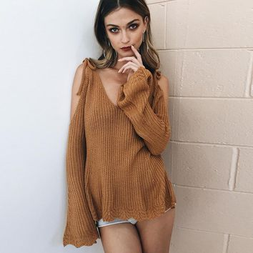 Knit Tops Winter V-neck Pullover Sexy Strapless Sweater [22426877978]