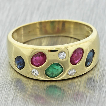 1970s Vintage 18k Solid Yellow Gold Diamond Emerald Ruby Sapphire Band Ring