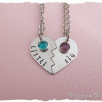 Hand Stamped Sorority Sisters Necklace - Big and Little with swarovski Elements