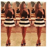 Long Sleeve Striped Mini Skater Dress