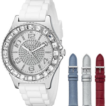 GUESS Women's U0714L1 Silver-Tone Watch Set with 4 Interchangeable Leather Straps Inside a Bonus Travel Case