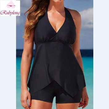DCCKL6D Rubylong 2017 Summer Classic Black Tankini Set Women Swimwear Two-Piece Suits Sexy Strappy Backless Swimsuit Monokini Plus Size