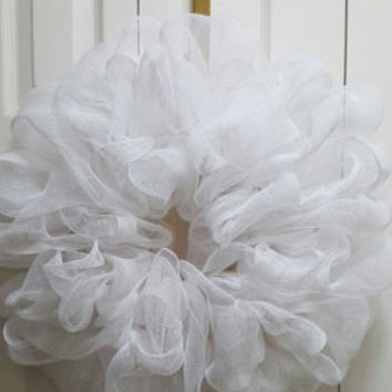White Deco Mesh Wreath 22""