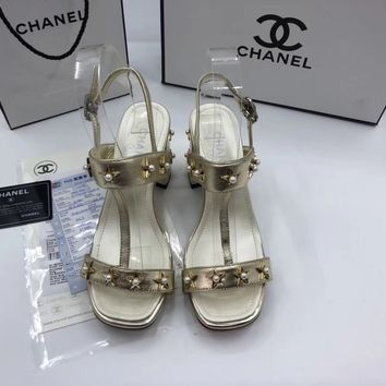 Chanel Fashion  high heels with ankle strap sandals for Women Silk fabric Gold
