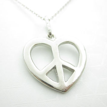 Peace Sign Necklace, Love and Peace Necklace, Heart Peace Sign, Peace Symbol, World Peace, Silver Finish, Unisex Necklace X058