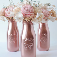 Valentine's Day Gift for Her Copper Pink Milk Bottles Vase Home Decor