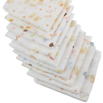 5pcs 100% Cotton Gauze Newborn Baby Infant Cartoon Face Hand Bathing Towel Bibs