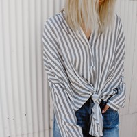 Mia Gray Stripe Top