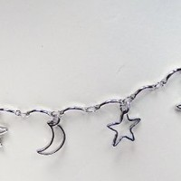 Anklet Bracelet Fashion Jewelry - Silver Tone Moons Stars