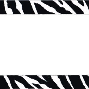 Zebra Black Plastic License Plate Frame