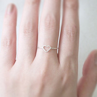 Heart ring - sterling silver - tiny open heart - delicate dainty jewelry