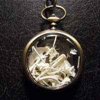 Out of Time Pocketwatch Ossuary with REAL Mouse and Bat Bones Shadowbox Necklace