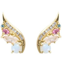 Daou Art Nouveau Style Opal Diamond Aquamarine Tourmaline Phoenix Wing Earrings