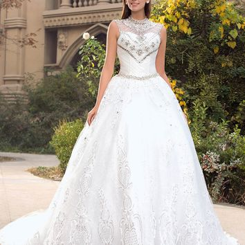 Fabulous Ball Gown Wedding Dresses 2017 High Neck  Crystal Beaded Appliques Lace-up  Brush Train Bridal Gown Vestidos De Noiva