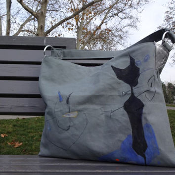 Cat Shoulder Bag, Large Cat Tote Bag, Hand Painted Canvas Bag