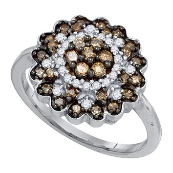 10kt White Gold Womens Round Cognac-brown Color Enhanced Diamond Flower Cluster Ring 5/8 Cttw
