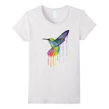Rainbow Hummingbird Watercolor T-shirt