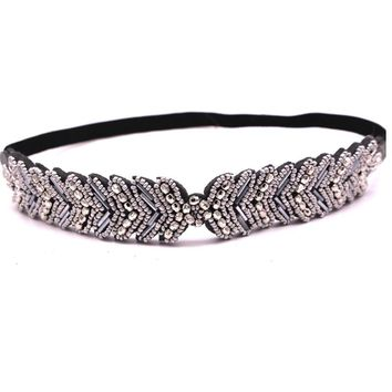 Metting Joura Women Girls Bohemian Punk  Vintage Braided Silver Metal Seed Beads Knitted Flower Headband Hair Accessories