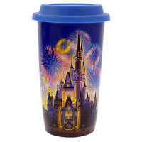 Disney Parks Cinderella Castle Fireworks Ceramic Coffee Travel Mug New