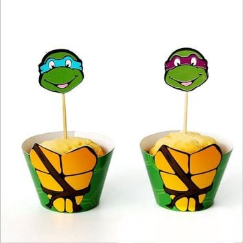 24pcs/pack Teenage Mutant Ninja Turtles Baby Shower kids Favors Cake Wrappers Birthday Party Cupcake Toppers Decoration Supplies