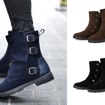 Mens Urban Stylish Casual High-Top Buckle Boots
