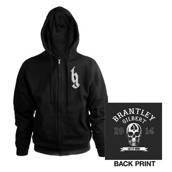 Brantley Gilbert Official Store | Biker Logo Skull Zip Hoodie