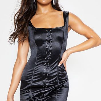 Black Lace Up Square Neck Bodycon Dress