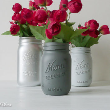 Valentines Day Decor / Shades of Grey  - Home Decor - Gift for Her - Centerpiece - Vase - Painted Mason Jar