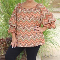Gypsy Queen Top with Flounce Sleeves ~ Mocha ~ Sizes 12-18