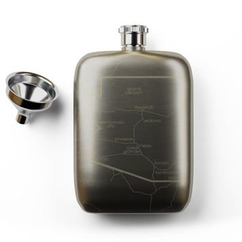 State Maps Pocket Flask - Stainless Steel