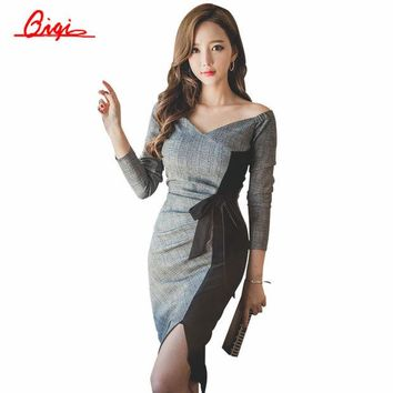 LMFUS4 Qiqi New 2016 Autumn Plaid Patchwork Dress Business Work V-neck Sexy Bow Tunic Bodycon Sheath Casual Pencil Dresses